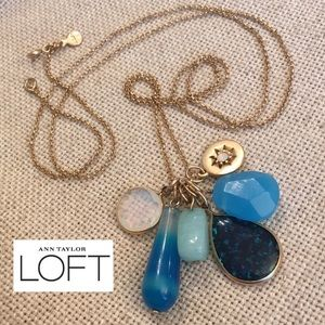 Loft Long Charm Necklace Blue Stones Moonstone